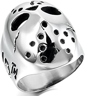 Men's Stainless Steel Ring Band Black Silver Tone Jason Mask Hollow Openwork