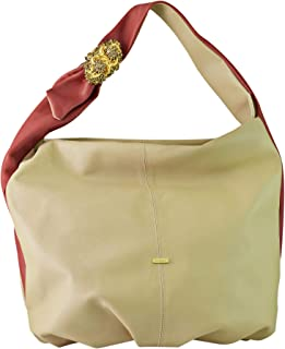 Kaizer KZ1864RED Leather Shoulder Bag for Women - Beige and Red