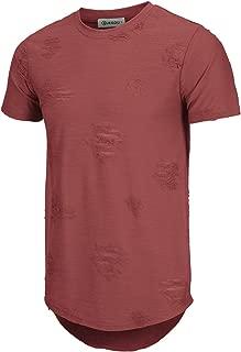 KLIEGOU Mens Hipster Hip Hop Ripped Round Hemline Hole T Shirt(1705)