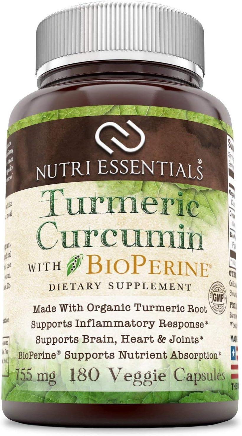 Nutri Essentials Organic Turmeric Indefinitely Curcumin Max 79% OFF Bioperine Mg 755 with