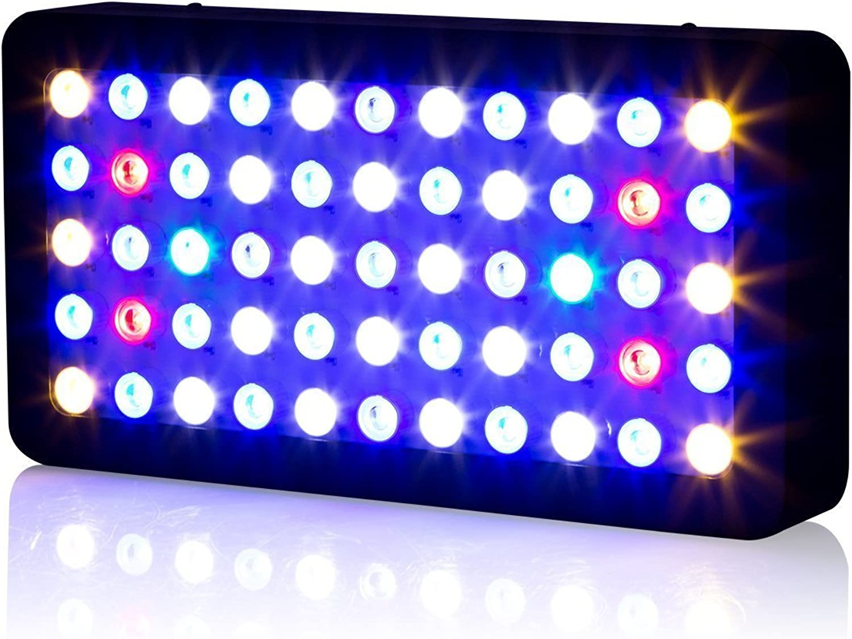 Roleadro Aquarium LED Light Panel 55x3w Dimmable 165w Marine Aquarium Led Lights Full Spectrum for Reef, Coral & Fish
