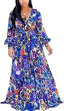 CAIYING - Vestido de Playa con cinturón para Mujer, de Gasa, con Cuello en V, Estampado Floral, para Verano