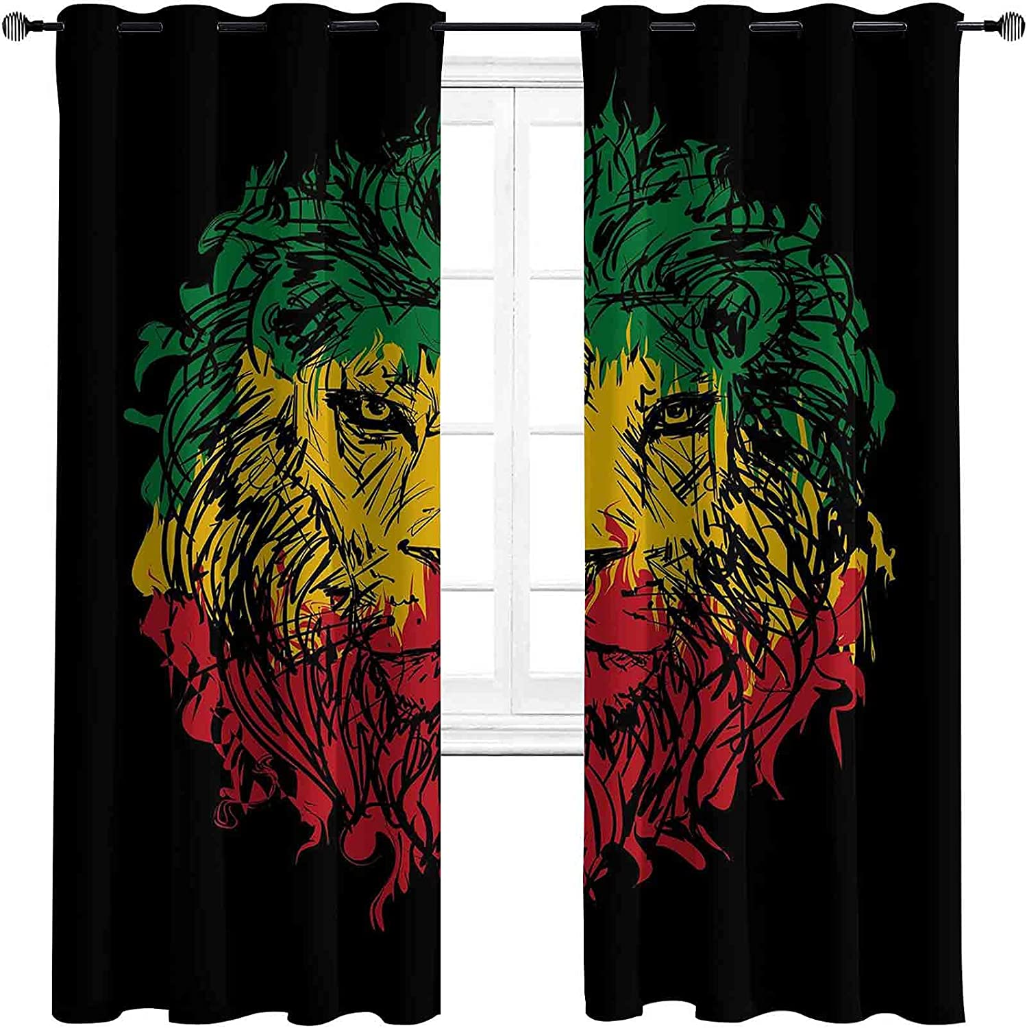 Max 74% OFF Rasta Shading Insulated Curtain Ethiopian Department store Grunge Colors on Flag