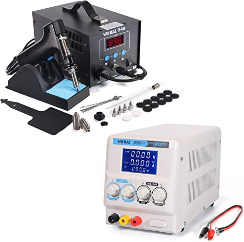 new arrival YIHUA 948 Professional Desoldering Station bundle with YIHUA online 305D-IV outlet sale Regulated DC Lab Power Supply with Holder, Soldering Cleaning Kit, and Accessories (29 Items) outlet online sale