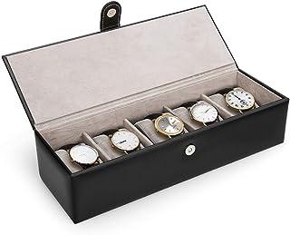 ca5e327e8 Amzdeal – Expositor para reloj de piel de doble capa; caja de reloj con tapa