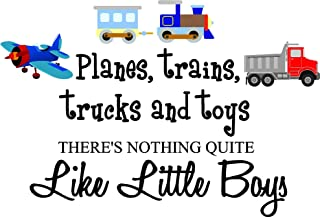 Sticker Perfect Planes, Trains, Trucks and Toys There's Nothing Quite Like Little Boys (Printed Plane, Train, Truck Set) Cute Inspirational Home Vinyl Wall Decals Sayings Art Lettering