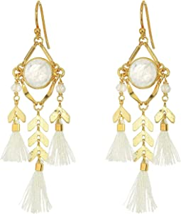 Chan Luu - Chevron and Tassel Earrings with Semi Precious Stones