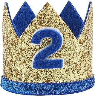 Birthday Hat Baby Boy Girl 2 Birthday Crown, Glitter Second Birthday Hats Prince/Princess Costume Headband Party Hats for Baby Boys/Girls Photo Props Cake Smash Cat Dog Costumes 2 Birthday Hat