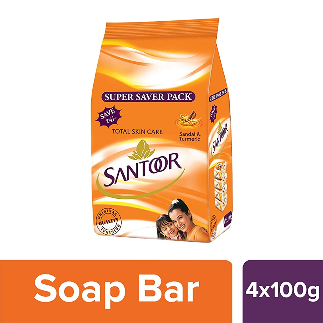 酔った返済船Santoor Sandal and Turmeric Soap Super Saver Pack, 100g (Pack of 4)