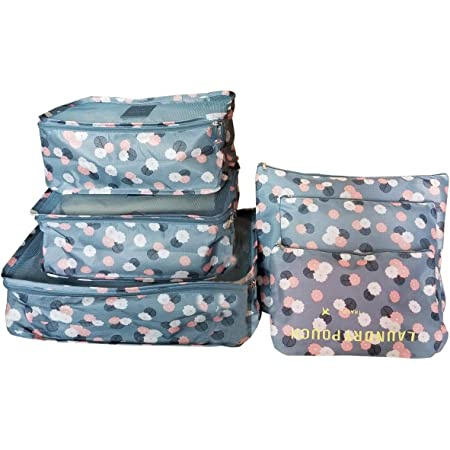 M-jump 6 Set Travel Storage Bags Multi-functional Clothing Sorting Packages,Travel Packing Pouches, Luggage Organizer Pouch (Blue daisy)