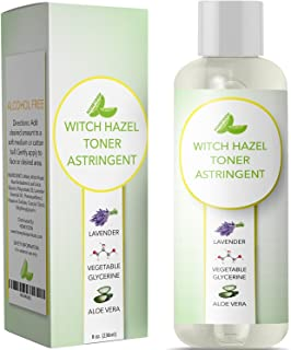 Witch Hazel Toner for Face Alcohol Free Astringent with Pure Lavender Essential Oil & Aloe for Oily Acne Prone + Dry Matur...