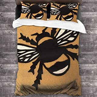 pengyong Duvet Cover Set Bumblebee Sticker 3 Piece Bedding Set Comforter Set with 2 Pillow Shams Zipper-Extra Long Perfect for Any Bed Room Or Guest Room