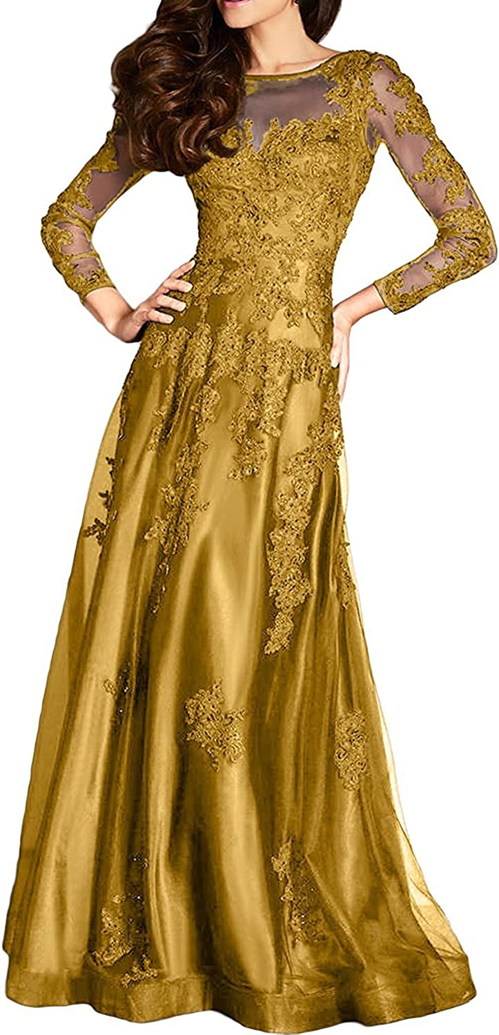 DINGZAN Gorgeous Applique Mother of The Bride Dress with Long Sleeves Prom Gowns