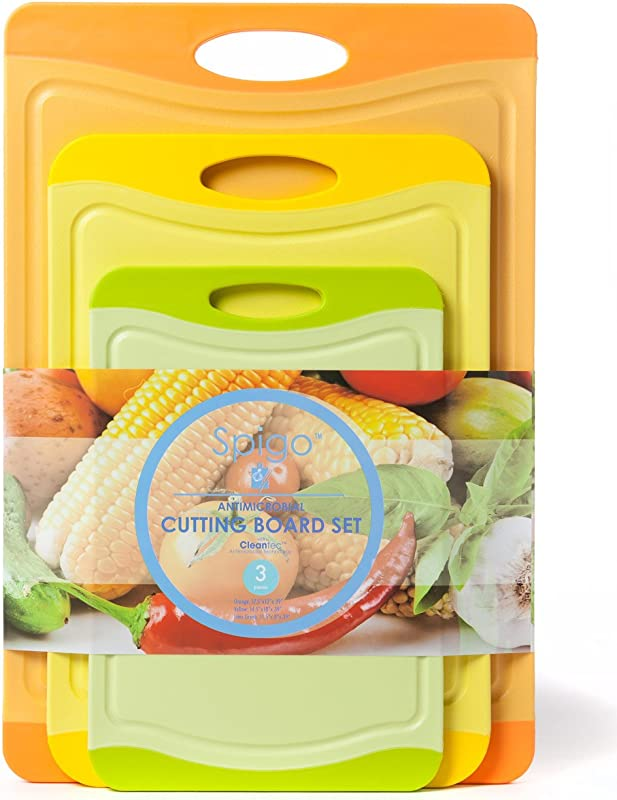 Spigo Antimicrobial Cutting Board Set With Cleantec Technology 3 Pieces