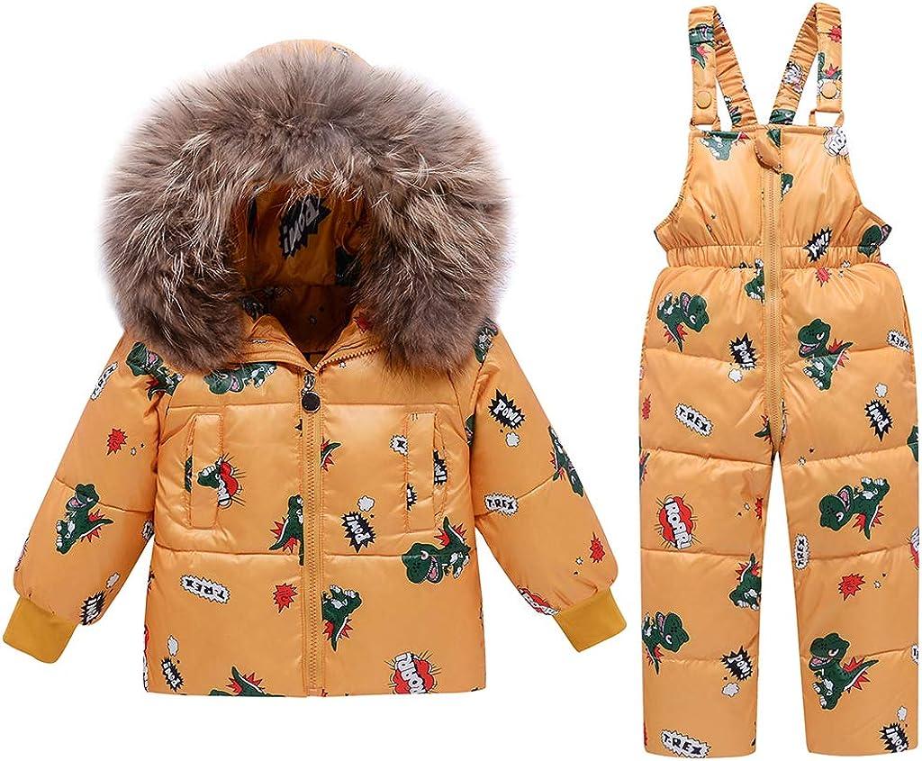 2 Piezas Niños Traje de Nieve de Invierno, Niñas Capucha Chaqueta de Plumón de Pato + Nieve Pantalones Babero Dinosaurio Ropa Conjuntos