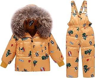 2 Piezas Niños Traje de Nieve de Invierno, Niñas Capucha Chaqueta de Plumón de Pato + Nieve Pantalones Babero Dinosaurio R...