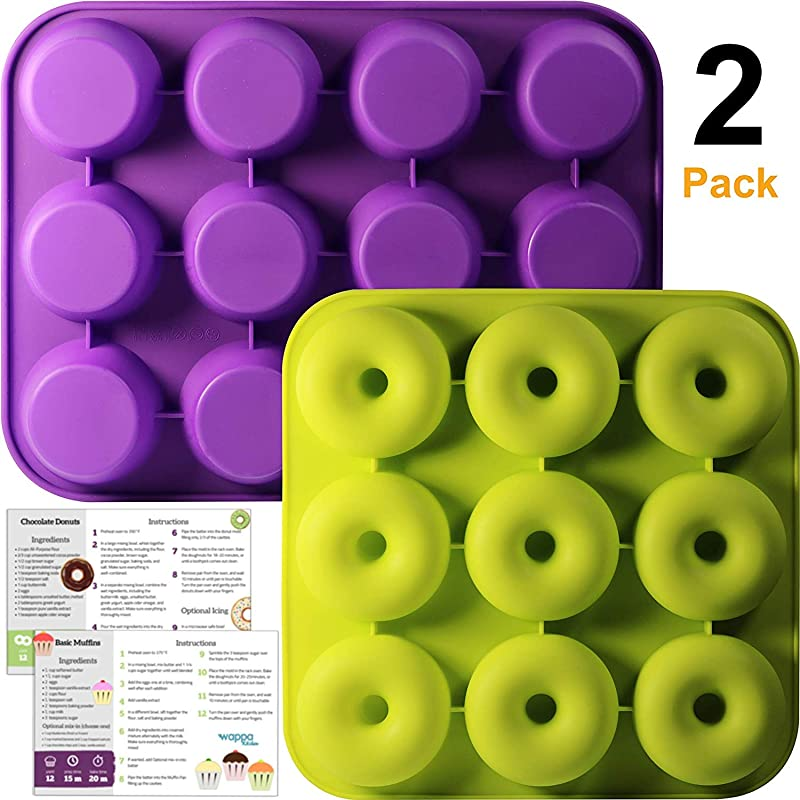 Non Stick Donut Pan And Muffin Pan Bundle Extremely Food Grade Silicone FDA And German LFGB Approved Includes Printed Recipes