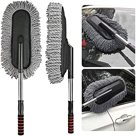 FEMAVA Microfiber Flexible Duster Car Wash | Car Cleaning Accessories | Microfiber | Brushes | Dry/Wet Home, Kitchen, Office Cleaning Brush with Expandable Handle