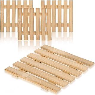 com-four® Salvamanteles 4X de bambú - salvamanteles sostenible para ollas, sartenes, Platos para Hornear y woks - salvamanteles Natural (04 Piezas - Bamboo V1)