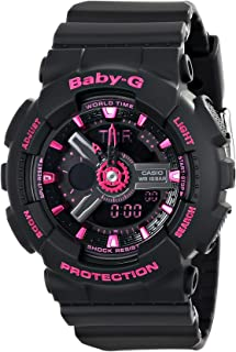 Women's BA-111-1ACR Baby-G Analog-Digital Display Quartz Black Watch