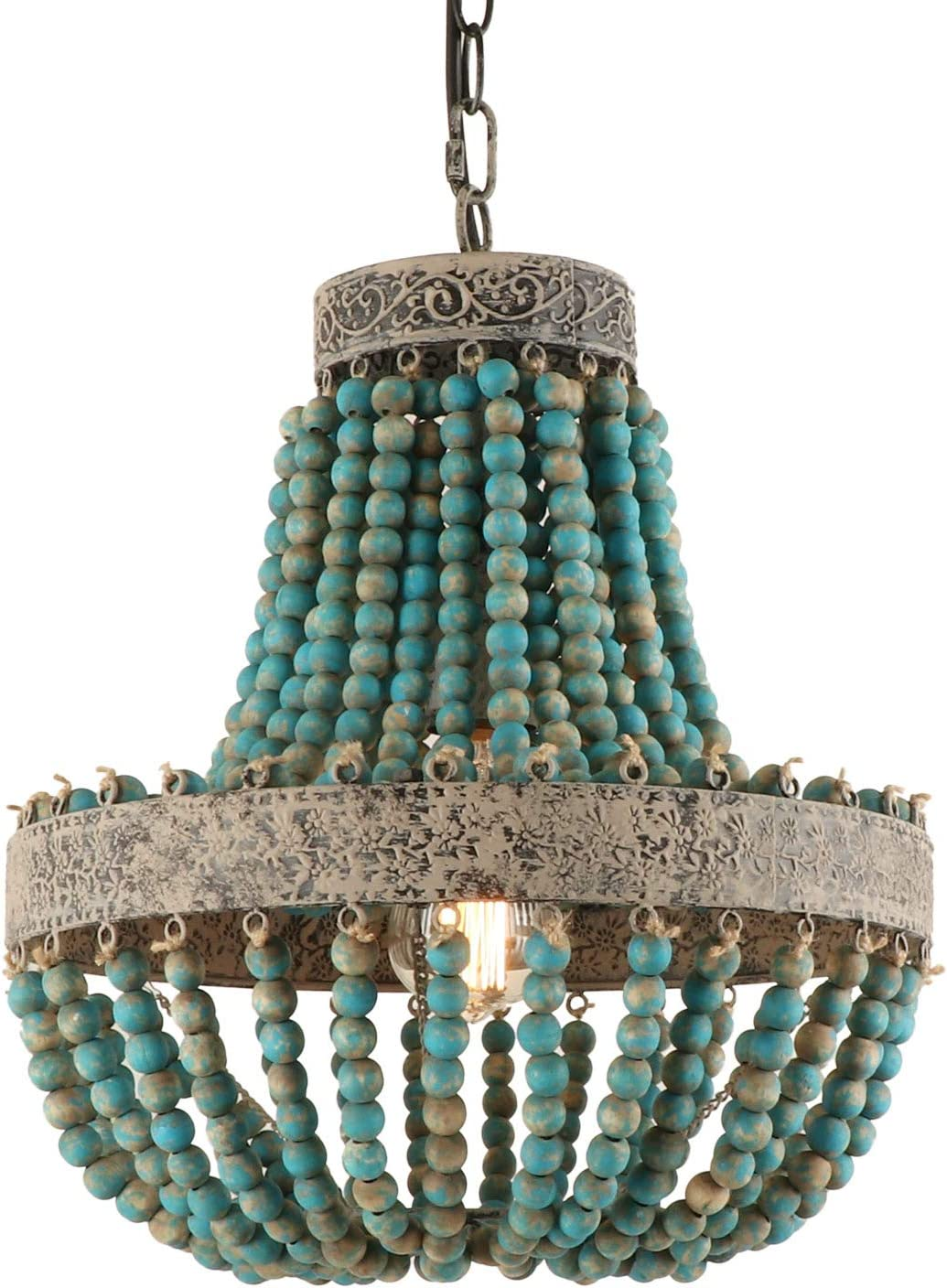 1-Light Wood Beaded Chandelier Sale special price Mini Rustic Bohe Farmhouse Sized Ranking integrated 1st place