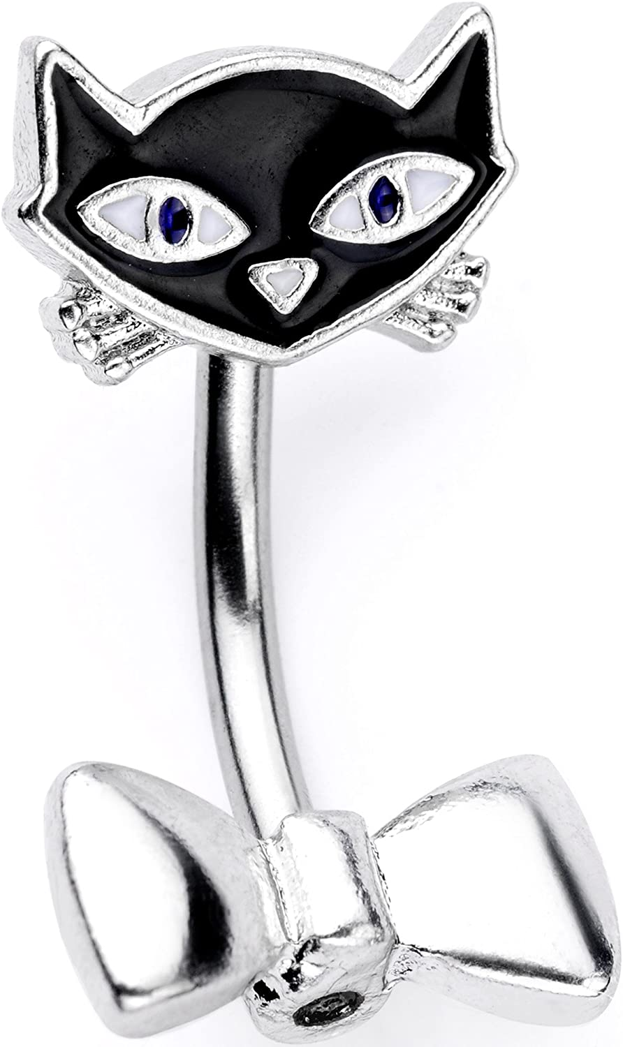 Body Candy 14G 316L Stainless Steel Navel Ring Piercing Black Cat Double Mount Belly Button Ring