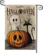 AVOIN Happy Halloween Garden Flag Vertical Double Sized, Spooky Ghost Pumpkin Jack O'Lantern Black Cat Burlap Yard Outdoor Decoration 12.5 x 18 Inch