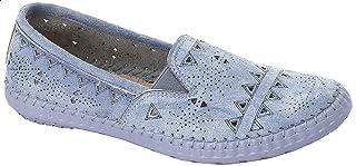 حذاء جلد نوباك مخرم باستك جانبي للنساء من جرينتا