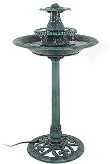 GJH One Bird Bath Fountain Water Pedestal Garden Patio Decor W/Pump Outdoor 3 Tier