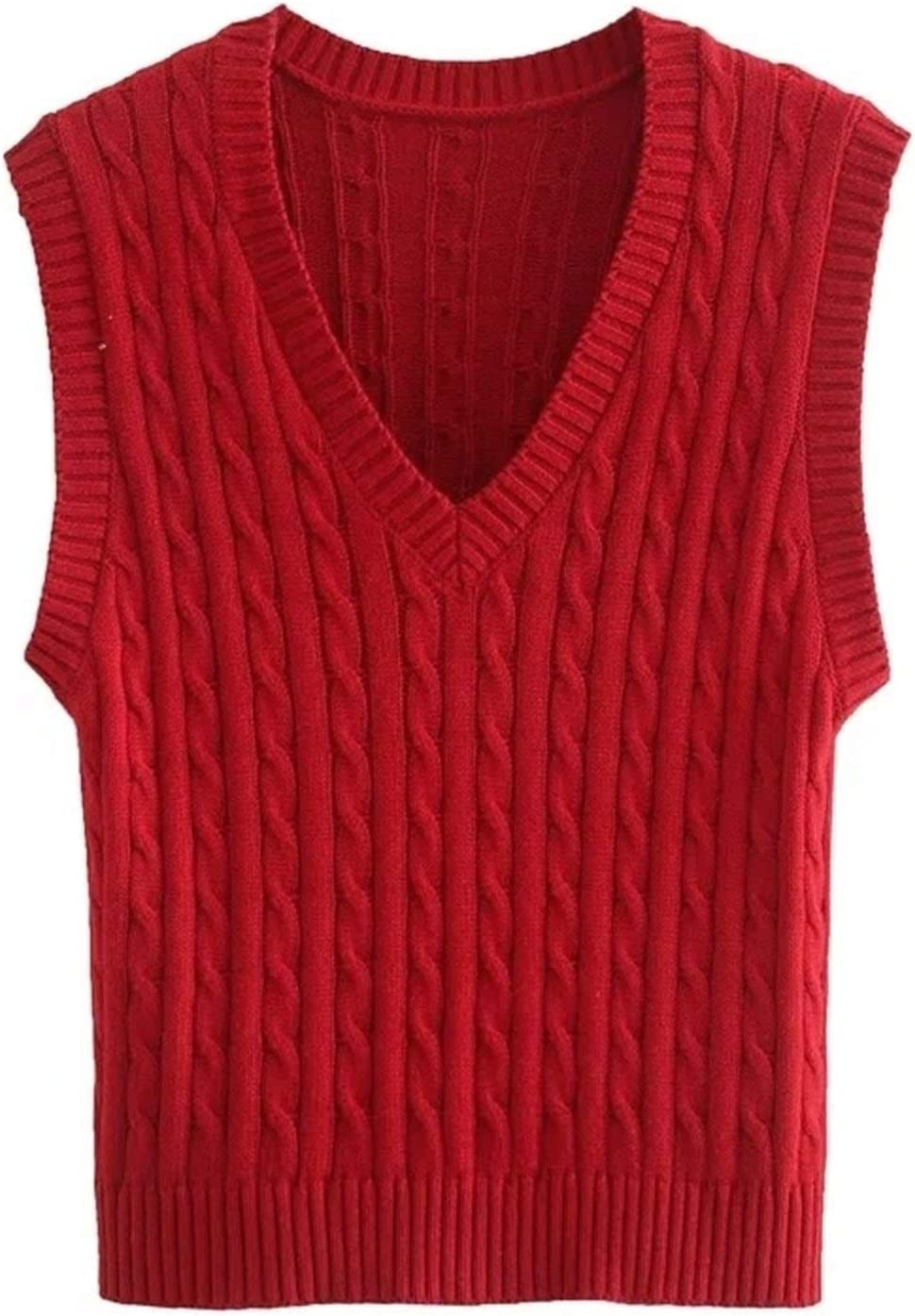 Slim Girls Soft Cotton Vest Sweaters Ladies Knitted Vests Vintage Female Short Sweater Women Chic Sweater Lightweight (Color : Red, Size : S.)