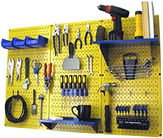 Pegboard Organizer Wall Control 4 ft. Metal Pegboard Standard Tool Storage Kit with Yellow Toolboard and Blue Accessories
