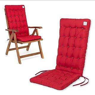 HAVE A SEAT Cojines para sillas de jardín de lujo, cómodos cojines de respaldo alto, lavables a 95 °C, aptos para secadora, 1 pieza - 120 x 48 x 8 cm, color rojo