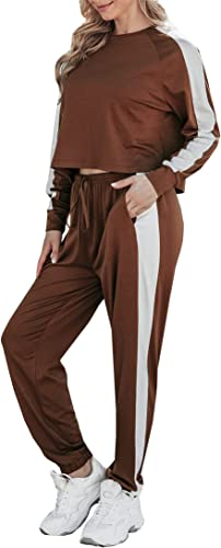 Chriselda Lounge Sets for Women 2 Piece Long Sleeve Jogger Sweartsuits Sets with Crop Top and Drawstring Trousers Suit