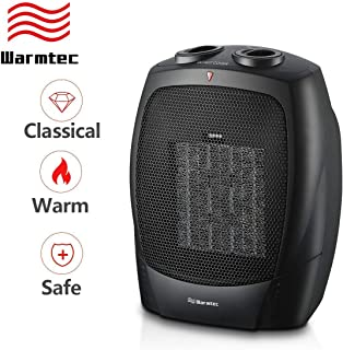 Warmtec 1500W Ceramic Space Heater with Adjustable Thermostat Small Tabletop/Floor Electric Heater (Black)