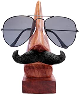 ITOS Handmade Wooden Nose Shaped Spectacle Specs Eyeglass Holder Stand with Moustache