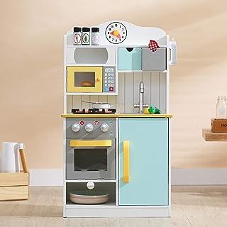 comprar comparacion Teamson Kids TD-11708AR Florence-Cocina de Juegos de Madera, Color Blanco, Verde y Amarillo