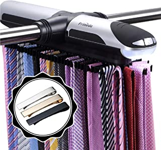 Primode Motorized Tie Rack Closet Organizer with LED Lights, Bonus Stainless Steel Tie..