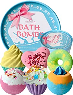 Aofmee Bath Bombs Gift Set, Handmade Bubble and Floating Fizzies Spa Kit, Shea and Cocoa Dry Skin Moisturize, Birthday Val...