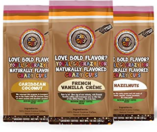 Crazy Cups Decaf Flavored Ground Coffee Variety Pack, Includes French Vanilla Crème, Caribbean Coconut,and Hazelnuts, in 1...