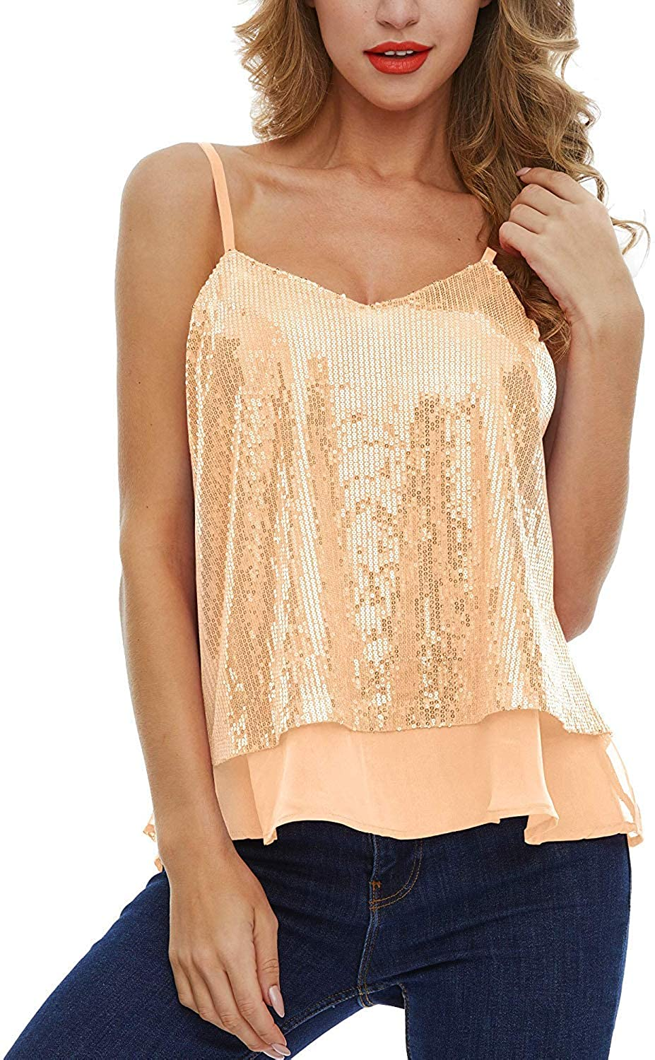 Women's Shining Camisole Sequined Vest Sparkle Sequin Tank Glitter Party Tops