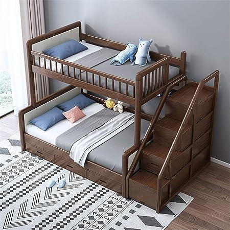 WSN Camas gemelas sobre Camas Altas, Literas Twin Over Full con Escalera y almacenaje, Estructura de Madera Maciza Twin Bunk Bed Walnut,1.5 x 2m