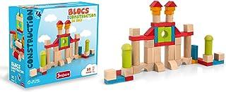 Jeujura J8242 52 Pieces Wooden Construction Blocks in Box, Multi-Color