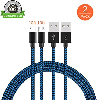 KMISS Micro USB Cables, [2-Pack 10FT] Extra Long Nylon Braided [Fast Charger Cord] Sync and Charge for Android Devices, Samsung Galaxy S7 Edge/S6/S5/S4,Note 5/4/3,HTC,LG,Nexus (10FT Black/Blue)