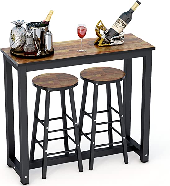 Tribesigns 3 Piece Pub Table Set Counter Height Dining Table Set With 2 Bar Stools For Kitchen Breakfast Nook Dining Room Living Room Small Space