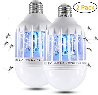 Apder 2 in 1 Electronic Mosquito 12W Bug Zapper Fly Killer Lamp, Fits 110V E27 Light Bulb Socket, 2 Pack-B1