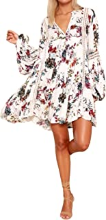 Women Cotton Long Sleeve Floral Print Casual Swing Short Dresses