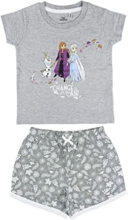 Cerdá - Pijama Niña Elsa, Anna y Olaf de Disney Frozen 2 - Camiseta + Pantalon de Algodón