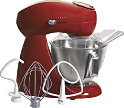 Hamilton Beach Eclectrics All-Metal 12-Speed Electric Stand Mixer, Tilt-Head, 4.5 Quarts, Pouring Shield, Red (63232)