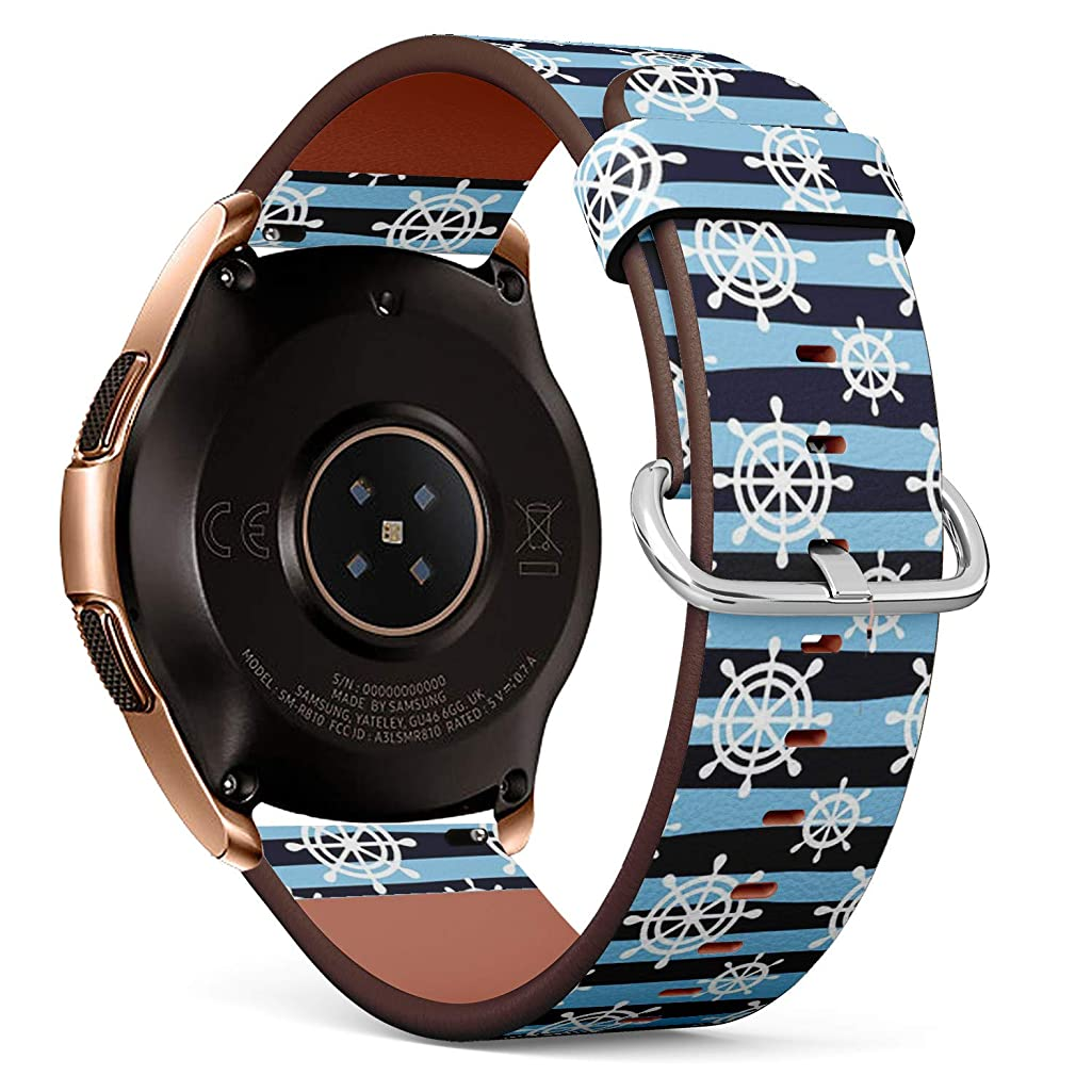 Compatible with Samsung Galaxy Watch (42mm) - Quick-Release Leather Band Bracelet Strap Wristband Replacement - Nautical Wheels