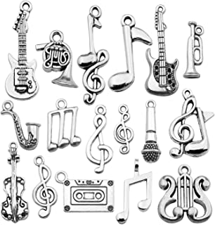 Best 50pces Bulk Craft Supplies Instrument Silver Music Notes Charms Pendants for Crafting, Jewelry Findings Making Accessory for DIY Necklace Bracelet Earrings HM354 Review